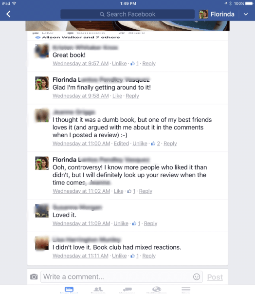 FB comments on my book