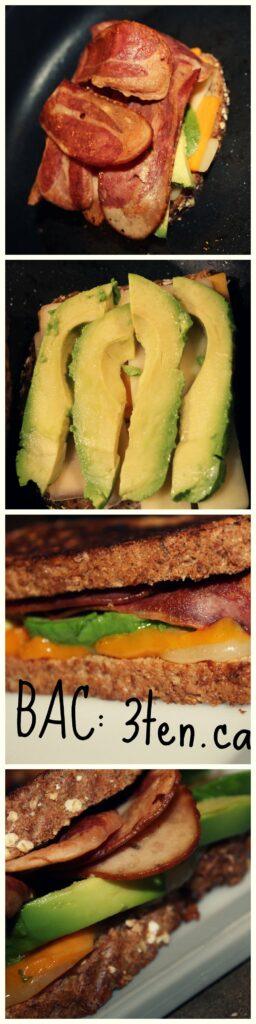 Bacon and Avocado Grilled Cheese: 3ten.ca #bac #bacon #avocado