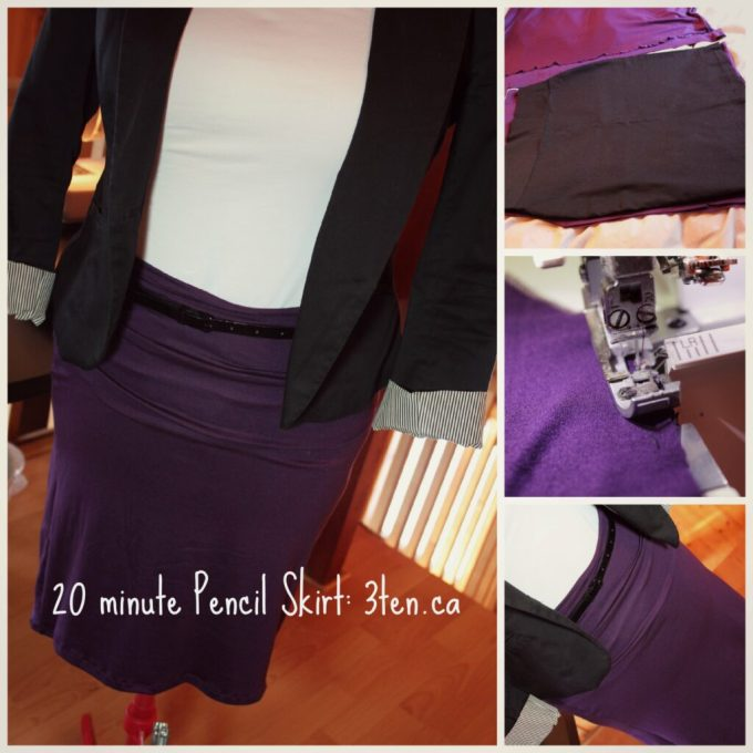 20 minute Pencil Skirt: 3ten.ca #sewing #diy