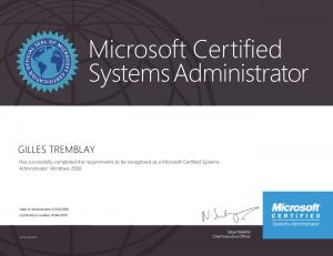 Microsoft Certified Systems Administrator Windows 2000