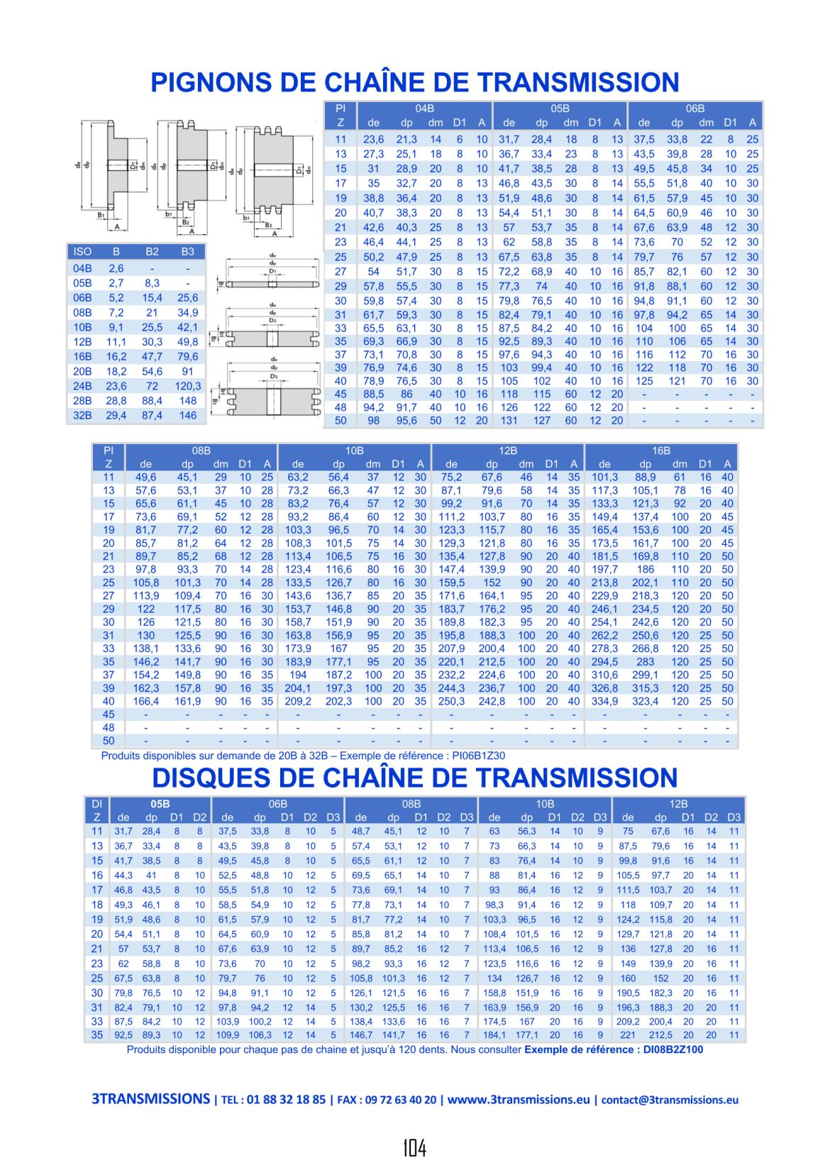 Page104 : Pignons à chaine de transmission