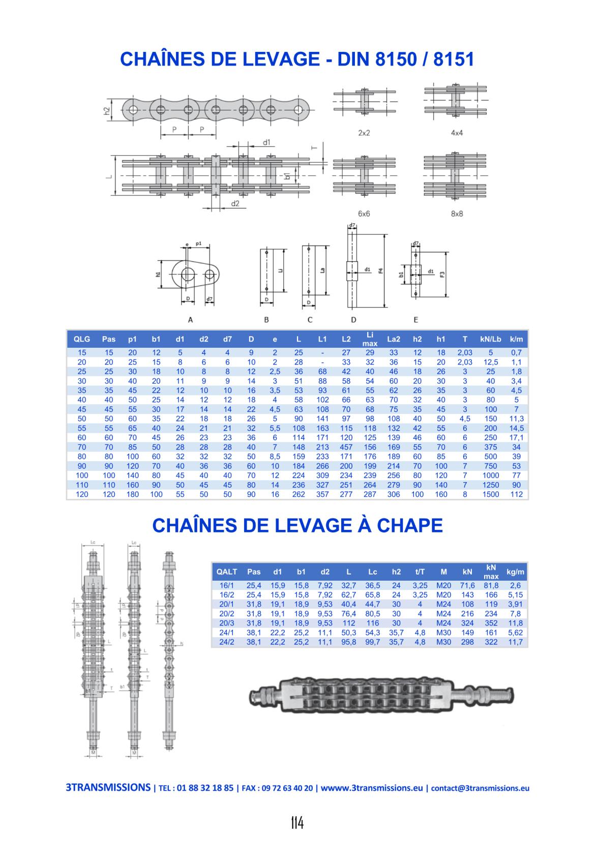 Catalogue 3Transmissions - Chaine de levage