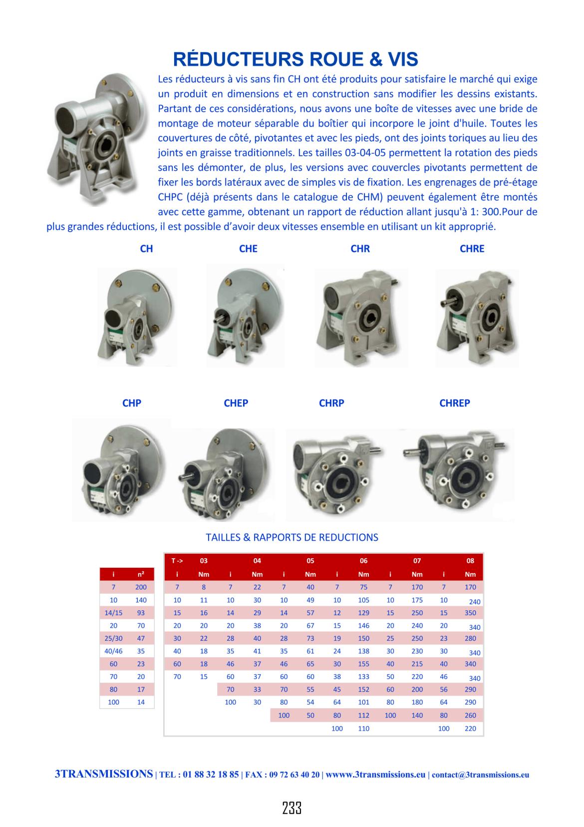 page233 catalogue 3transmissions reducteur roue vis