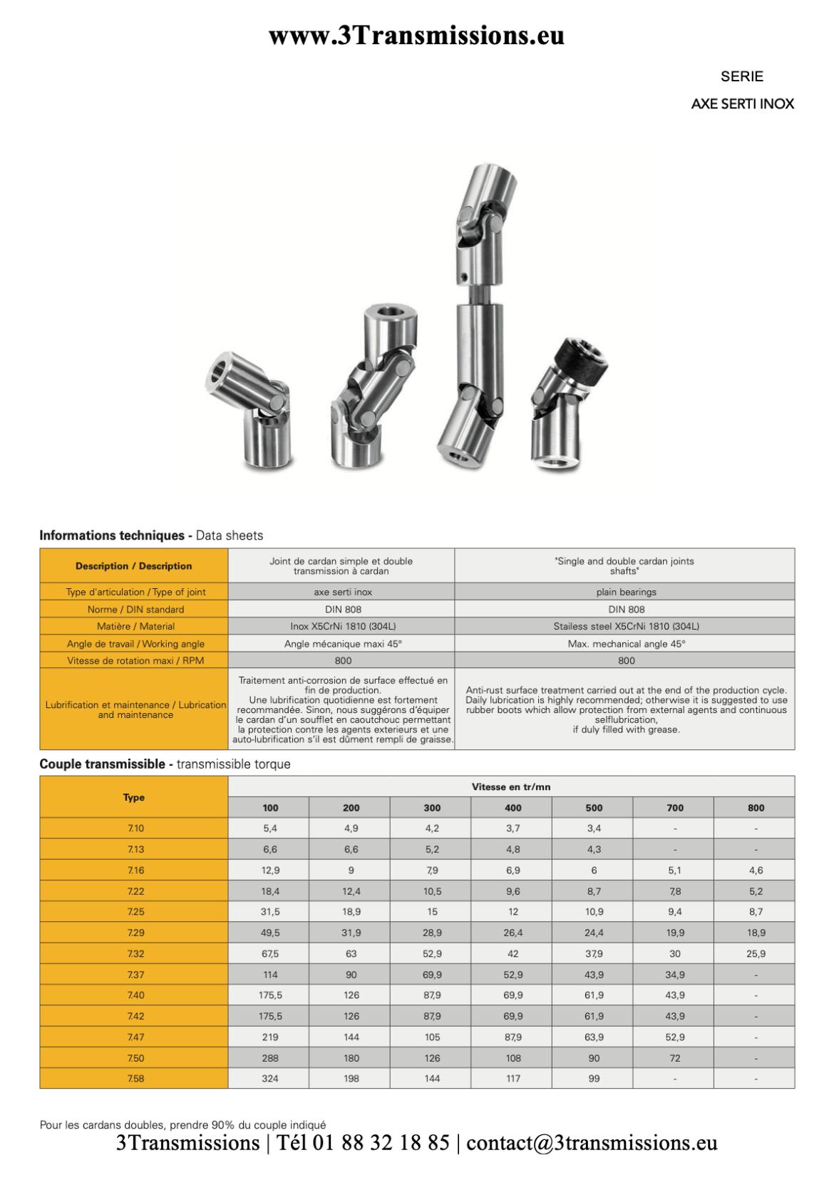 Les Joints de cardan inox sont des accouplements simple pour la transmission de puissance.