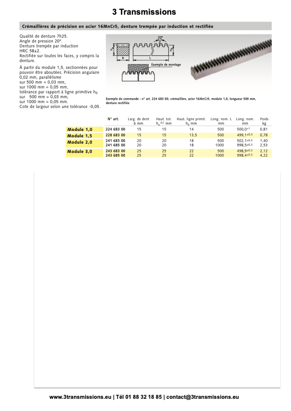 crémaillères acier traité denture droite angle de pression 20°