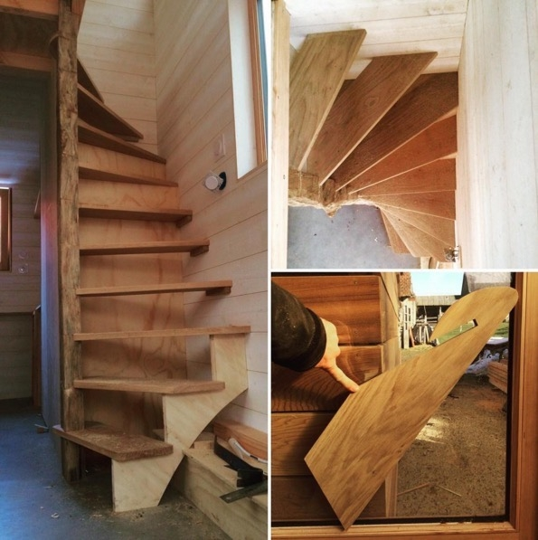 La Tiny House With Smart Staircase To Loft   Tiny Home Spiral Staircase   Multi Purpose   Stair   Creative   Bedroom   Rooftop Deck