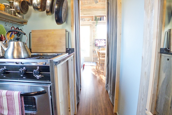 tiny house with l shaped kitchen