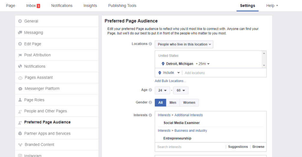 increase reach and exposure, Facebook Preferred Page Audience #2