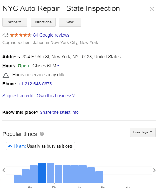 Google My Business account of NYC Auto Repair