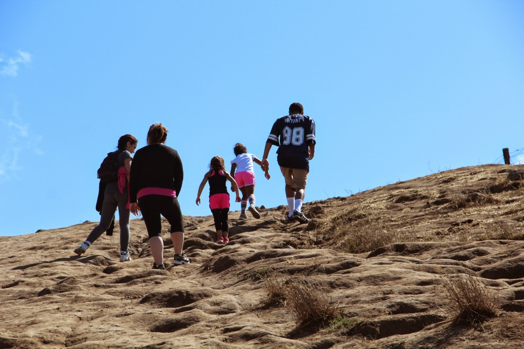 Young and old hikers ascend to the peak. Photo: Mallory Pickett