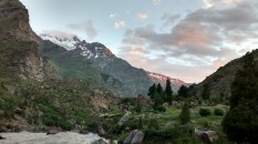 Our camp by the riverside, in the lap of the Himalayas