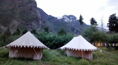 The tents - not so fancy from the outside, posh (by camping levels) inside