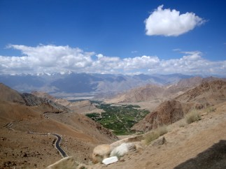 Looking back at the Leh Valley, from the way up to Khardung La Pass