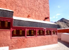 Prayer wheels are everywhere in Ladakh - these were at the Thiksey Monastery
