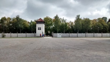 The roll-call (and execution) ground with the security guard's tower in the background