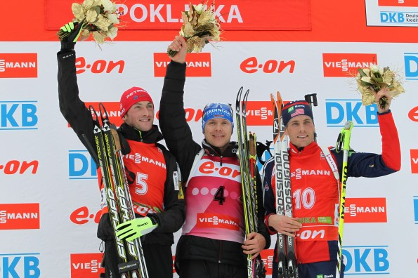 Left to right: Jakov Fak of Slovenia, Andreas Birnbacher of Germany, Tim Burke of the United States on the podium // photo US Biathlon/Nordic Focus