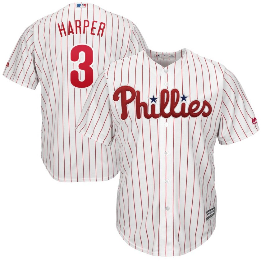 bryce harper phillies jersey in white pinstripe by majestic