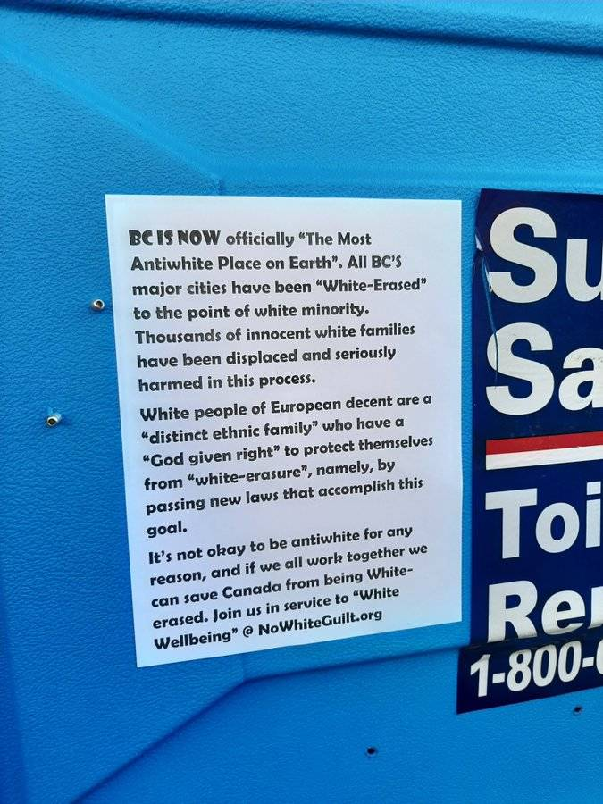 Surrey man urges public to watch out for 'white replacement theory' posters