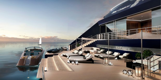 Rendering of the marina at aft end at one of the ships part of The Ritz-Carlton Yacht Collection