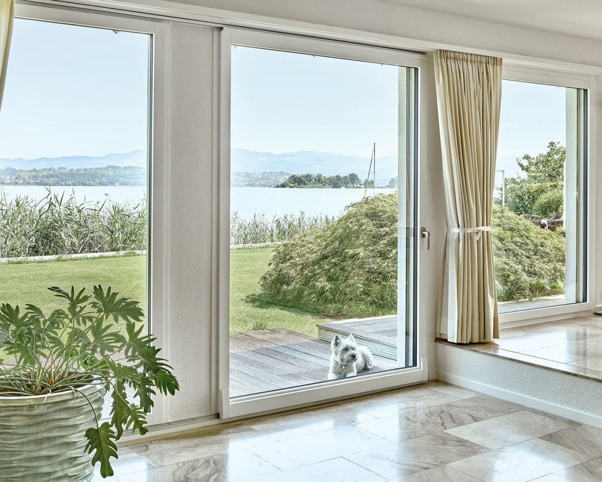 Hund sitzt auf der Terrasse und blickt durch die grosse Parallelschiebetür in den Wohnraum.