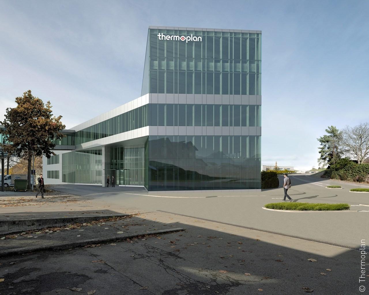 Rendering des neuen Werkgebäudes der Firma Thermoplan