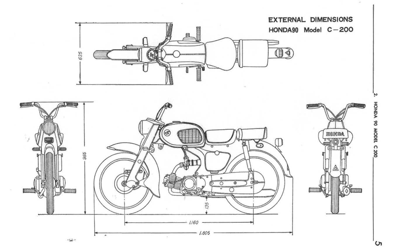 Honda C200 Dimensions