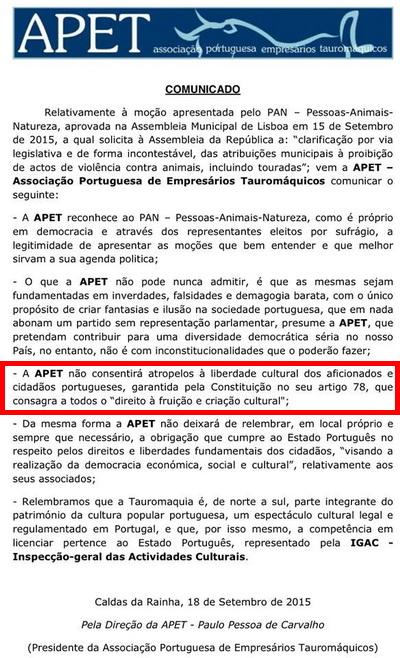 Setembro   2015   Blog Contra a Tauromaquia, em Portugal e no mundo ... 26cc00e36f