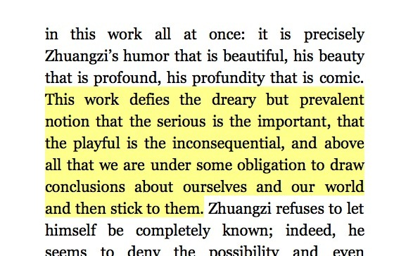 """This from Zhuangzi: The Essential Writings reminds me of a reference to Lincoln's sense of humorin a 2008New Yorker piece:""""Those who dismiss [Obama's] centeredness as self-centeredness or his composure as indifference are as wrong as those who mistook Eisenhower's stolidity for denseness or Lincoln's humor for lack of seriousness."""""""
