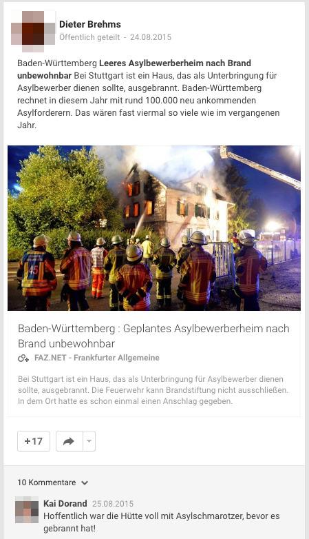 """""""Hoffentlich war die Hütte voll mit Asylschmarotzer, bevor es gebrannt hat!""""- Quelle- Profil von Kai Dorand"""