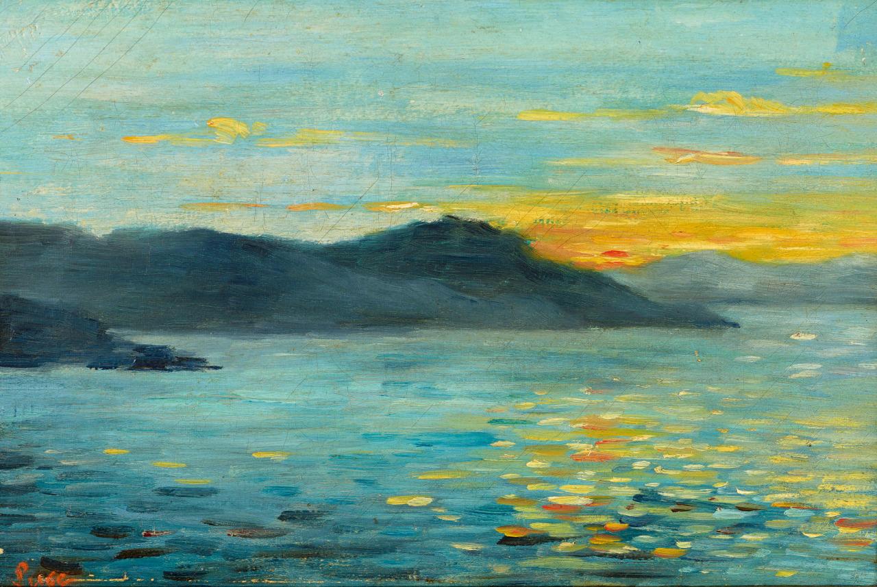 thunderstruck9:Maximilien Luce (French, 1858-1941), Coucher de soleil [Sunset]. Oil on canvas, 22 x 33cm.