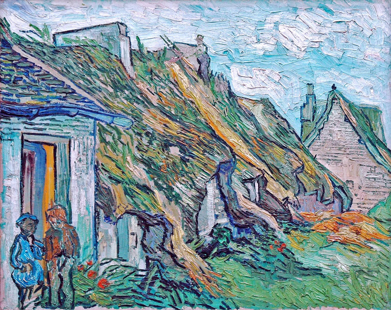 dappledwithshadow:  Old Cottages, Chaponval Vincent van Gogh, 1890