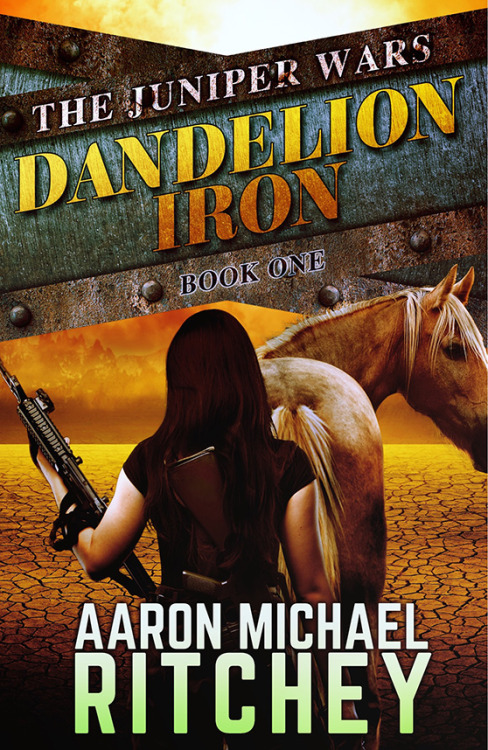 The Juniper Wars: Dandelion Iron By Aaron Michael RitcheyReviewed by Miranda BoyerI had to look up the the last Aaron Michael Ritchey book I had the privilege of reading; it was back in June of 2015. Nearly a year ago, I finished Long Live the Suicide King and I've been itching at that empty part of me waiting for the next piece of fiction from Ritchey so that I might get my fix. This time last year I met Ritchey and he told me about this wonderful new series he was writing. The way his face lit when describing a futuristic post-apocalyptic cattle drive was worth a thousand words. You can imagine my surprise and delight when I received an ARC of The Juniper Wars: Dandelion Iron. I breathed a little easier knowing that after many long months, the wait and come to an end. The year is 2058 and the Sino-American War caused many problems for the world. The first and arguably the biggest problem was the Sterility Epidemic, causing 9 out of 10 men to be sterile as well as 9 out of ten births to be female. The second largest problem was due to the Yellowstone Knockout. New Mexico, Colorado, Utah, Wyoming, and Montana, as well as the edges bleeding into bordering states have no electricity. This makes up what is known as The Juniper, the wildest most dangerous part of the world. While the rest of civilized society moves on and embraces technology, cures cancer, and are working hard to save the earth; those in the Juniper are left to function in the dark ages of what resembles the old west. In Dandelion Iron, book one of six in the Juniper Wars series, we meet Cavatica Weller. She has fully embraced civilized life and going to school in the city. She's even made peace with the fact that she'll probably never have a boy of her own. Until her gunslinging sister Wren shows up at her school forcing her to run for her life back to the Juniper. Her oldest sister Sharlotte is holding down the family ranch, with bad news to bare. In a last ditch effort to save the family ranch, Cavat