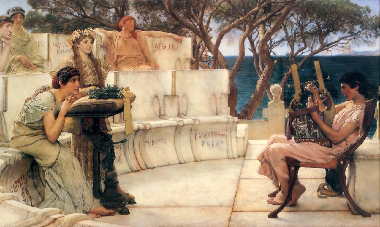 Sir Lawrence Alma-Tadema, Sappho and Alcaeus, 1881, Öl auf Leinwand, 66 cm x 122 cm, The Walters Art Museum