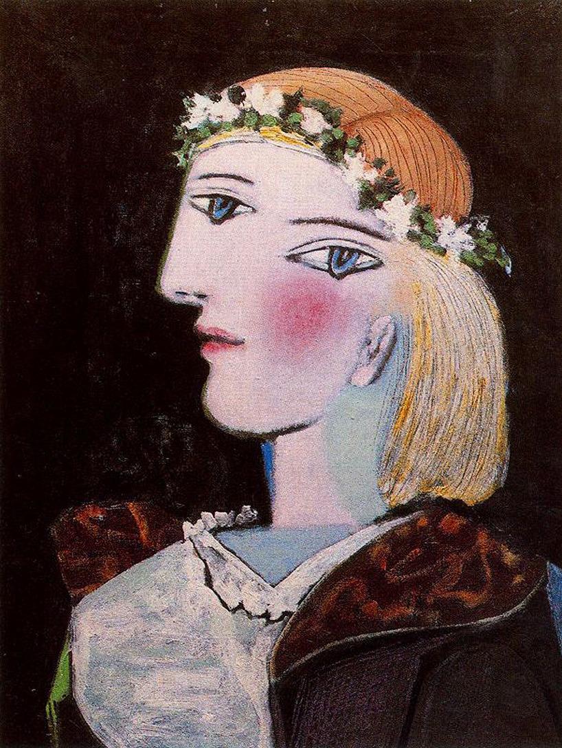 lonequixote:Portrait of Marie-Thérèse Walter with Garland, 1937 ~Pablo Picasso