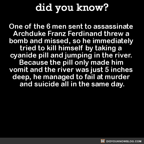 One of the 6 men sent to assassinate Archduke Franz Ferdinand threw a bomb and missed, so he immediately tried to kill himself by taking a cyanide pill and jumping in the river. Because the pill only made him vomit and the river was just 5 inches deep, he managed to fail at murder and suicide all in the same day. Source