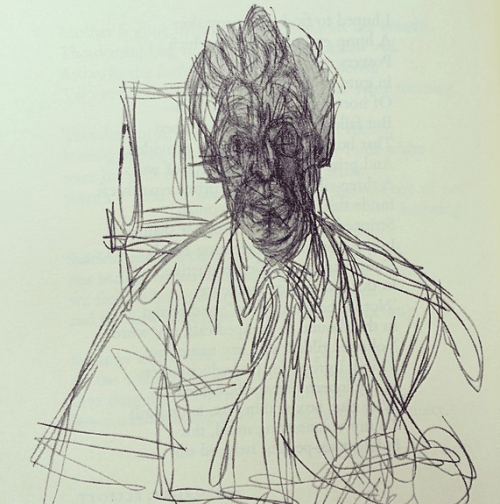 "theparisreview: Self-portrait by Alberto Giacometti. James Lord writes in his introduction, ""He works in a state of intimate excitement with his materials, his long strong functional hands never still, never quite clean of contact with his work … The figures and objects are seen by the artist not as pretexts but as ends in themselves and are to be seen similarly by us."""