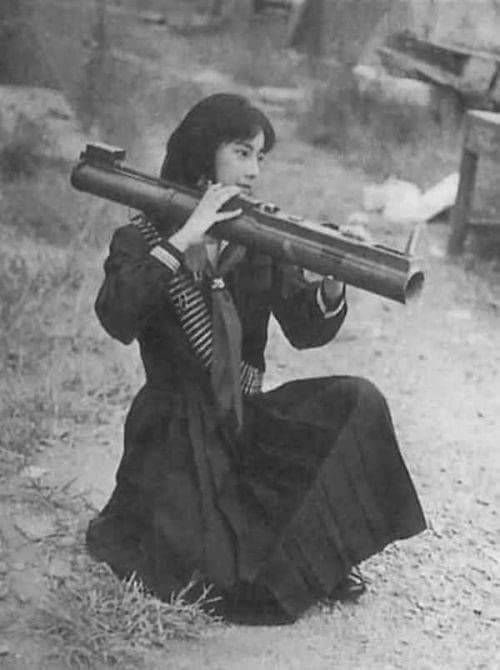 Fusako Shigenobu, founder and leader of the communist Japanese Red Army, practices with an American LAW in Lebanon, 1972.