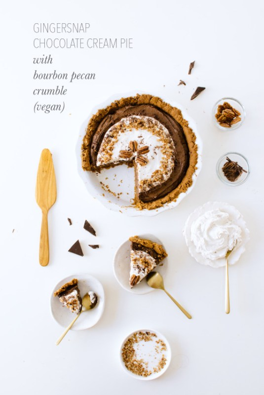 Gingersnap Chocolate Cream Pie with Bourbon Pecan Crumble