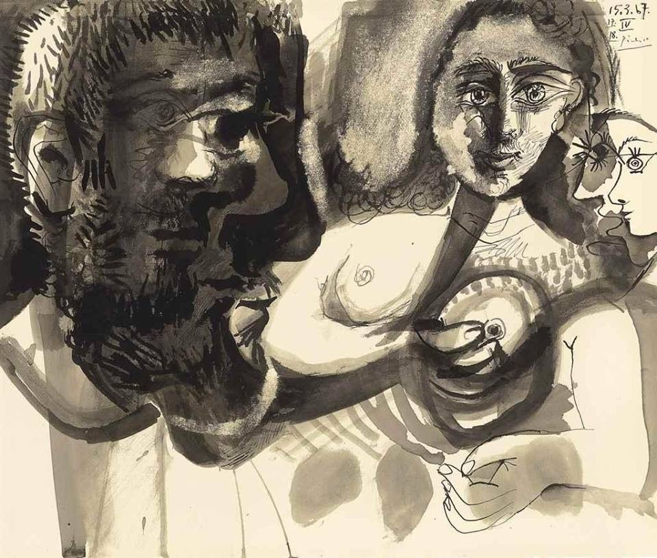 Pablo Picasso - man, woman and profiles-1967
