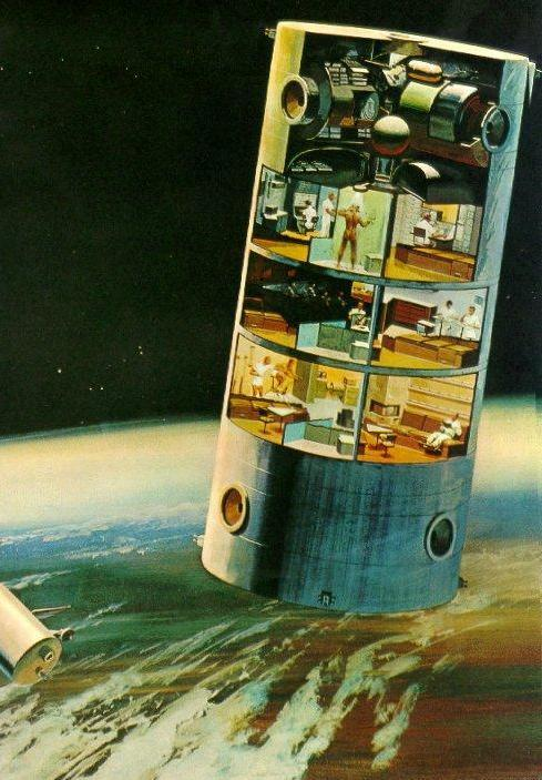 70s Sci-Fi Art: Retro concept art for a 12-man space station.