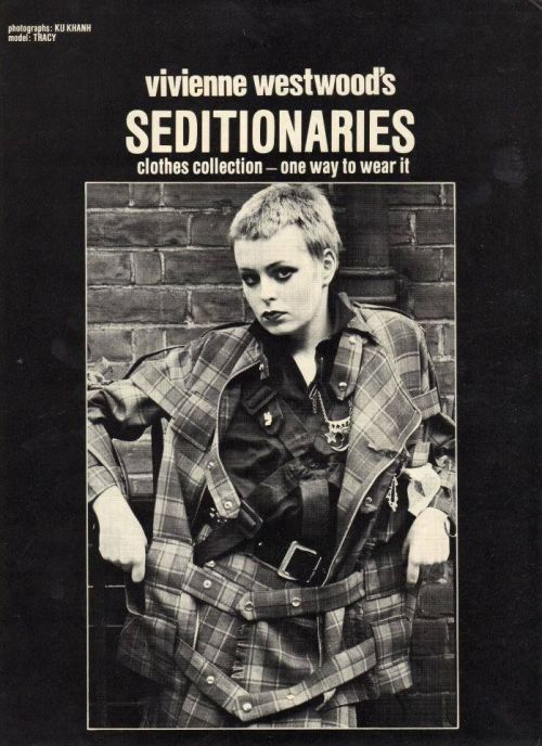 Tracie O'Keefe on the cover of a Seditionaries catalog, ca 1977