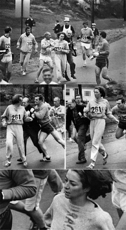 "run-eat-study-repeat:  congenitaldisease:In 1967, Kathrine Switzer was the first woman to enter and complete the Boston Marathon as a numbered entry. She registered under the gender-neutral name of ""K.V. Switzer"". After realizing that a woman was running, race organizer Jock Semple went after Switzer shouting, ""Get the hell out of my race and give me those numbers."" however, Switzer's boyfriend and other male runners provided a protective shield during the entire Marathon. These photographs taken of the incident made world headlines.  inspiration"