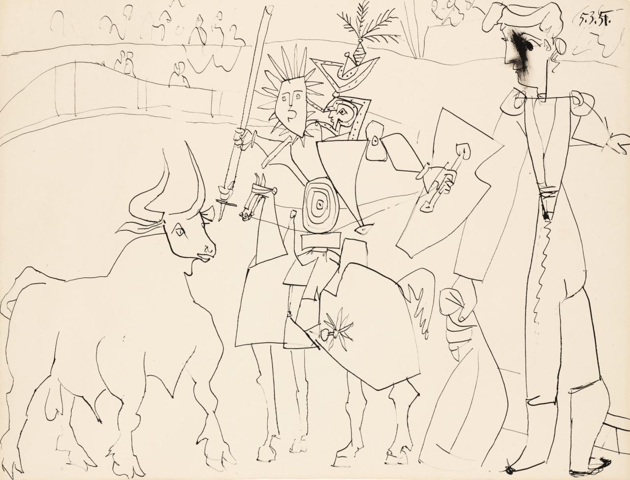 thunderstruck9:  Pablo Picasso (Spanish, 1881-1973), Chevalier et picador dans l'arène, 5th March 1951. Pen and ink on paper, 50.7 x 65.8 cm.