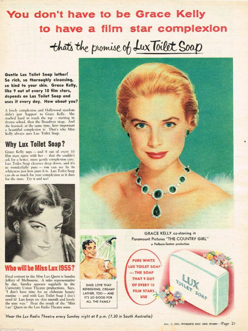 Grace Kelly in a Lux Soap ad.