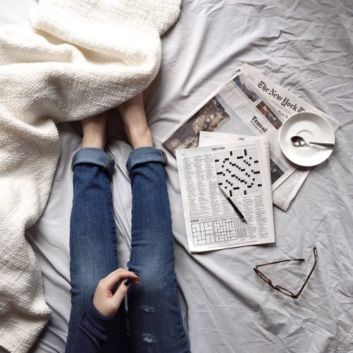 "herpaperweight:ja—bitte:Love this shot via @thetrottergirl's Insta…""Quiet morning in bed with my NYT and the most comfy resolution jeans. @gap #APerfectFit"""