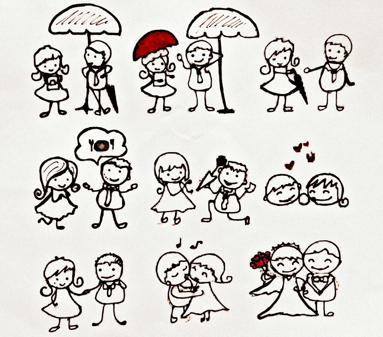 A Valentine song  I saw you standing there,  The same way as you did, With smiling lips here, And yours as well bid.   Sharing my umbrella with you, In a small little Hi, And then the talk goes to a few, Words, and ends in a dinner, sigh!  I bring you roses, and then a ring, Proposing my love to your heart, And in unending glee you spring, Waltzing on our romance tart.  With all the deeds and happy feet, We're married for years long, Yet the essence is like a new treat, Each day is our Valentine song.  -written by Adelene Coelho Drawing by Amelia Joseph