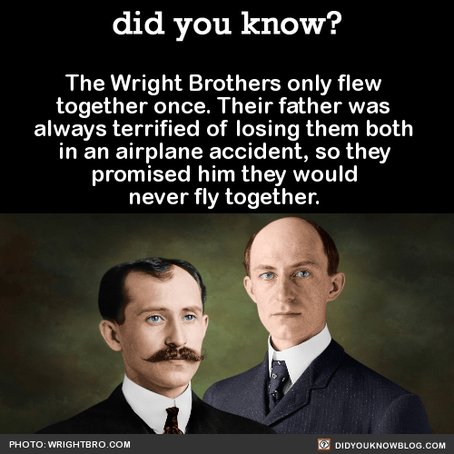 The Wright Brothers only flew together once. Their father was always terrified of losing them both in an airplane accident, so they promised him they would never fly together. Source