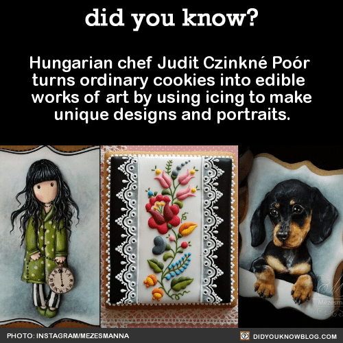 Hungarian chef Judit Czinkné Poór turns ordinary cookies into edible works of art by using icing to make unique designs and portraits. Source Source 2 Source 3