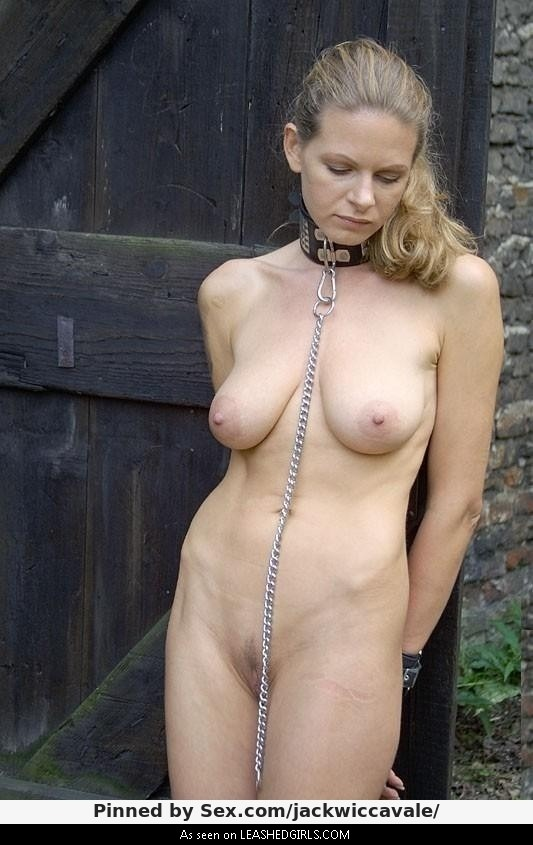 Beautiful nude submissive women in collars
