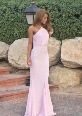 Nada Adelle is looking all kinds of stylish in a floor length light pink halter neck dress!Dress: V Label London